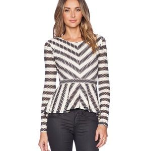 BcbgMaxAzria Eyelet Long Sleeve Franseen Top